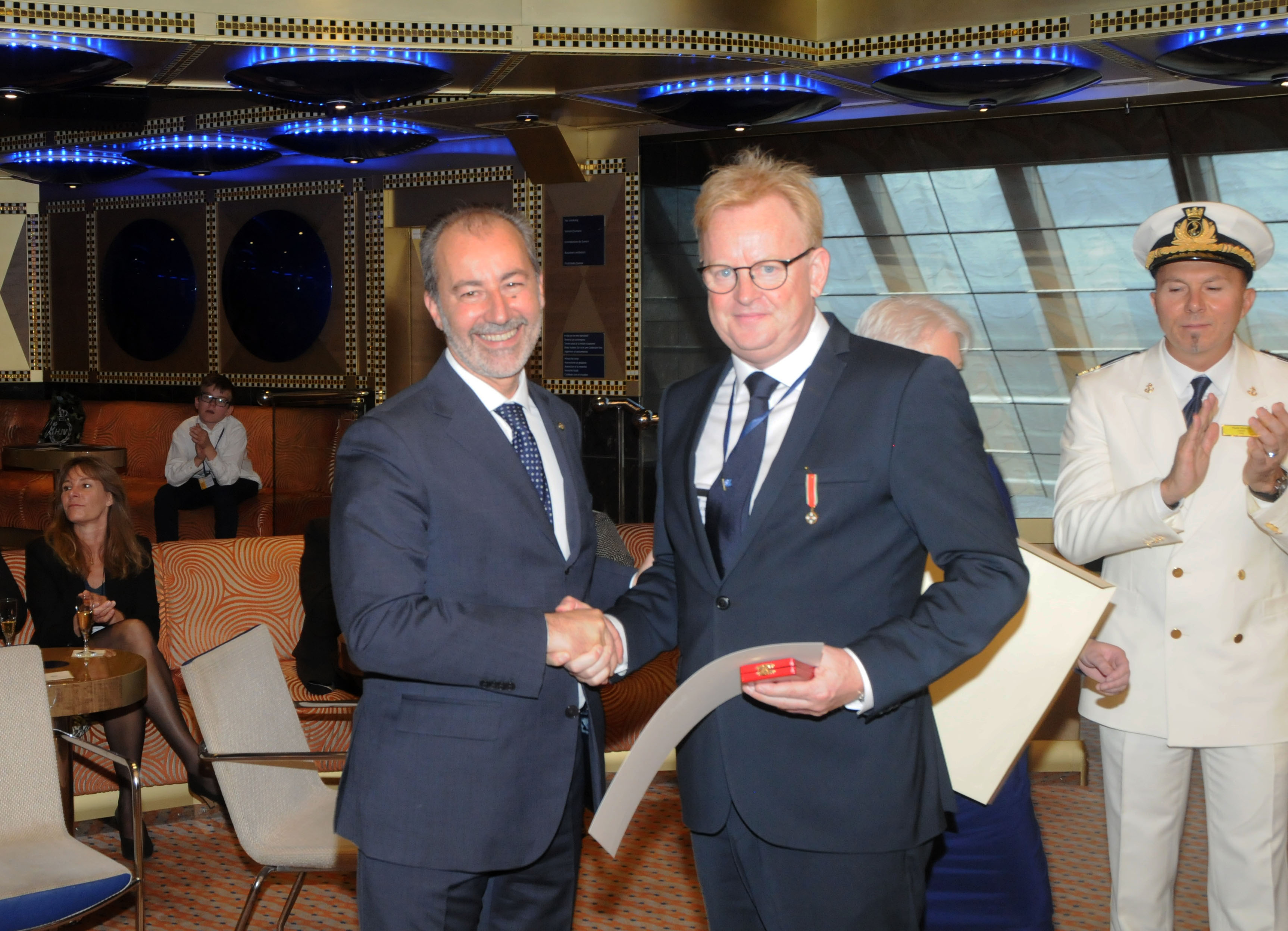 "Photo HASSE FERROLD:  Italian National Day 30 05 2015 : The Ambassador of Italy, Stefano Queirolo Palmas invited to attend the celebrations of the Italian National Day, which this year took place on Saturday, 30th May 2015 form 10.30-14.30, on board the Italian cruise ship ""Costa Favolosa""  at Oceankaj Copenhagen. Photo 1: Middle The Ambassador of Italy and Danish Rear Admiral Nils Wang  http://forsvaret.dk/FAK/Om/organisation/ledelse/Pages/default.aspx  2: The Ambassador of Italy and his wife with the Captain Paolo Viscafé and right the COSTA Sales Manager Scandinavia  & Northern and Eastern Europe Giancarlo Tedesco www.costacruise.com  4: Speech by the Ambassador 5: R-L: Hans Hermansen Copenhagen Post, The Ambassadors of Turkey, Saudi Arabia ,Egypt , Nepal.  Following were decorated with ITALIAN ORDERS: 6: Thomas Harder www.thomasharder.dk 7: 8:Henrik Otto Jensen www.nielswinther.dk  9: Italian cruise ship ""Costa Favolosa""www.costacruise.com"